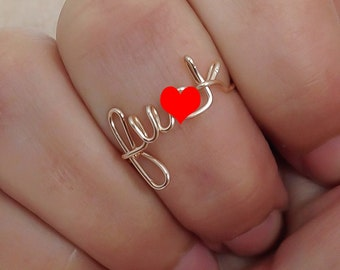 Fu*k ring, wire F word ring, silver plated, wire word ring, wire ring, adjustable ring, mature, letter rings, word ring, bad word ring