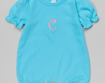 Girls Aqua Ruffle Personalized Romper