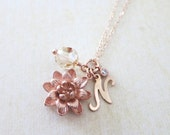 Personalized Lotus and Crystal bead necklace - rose gold filled, lotus flower, golden shadow, letter, sisters, best friends - N0022RG