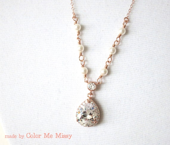 Rose Gold Luxe Cubic Zirconia Teardrop Necklace - Necklace, rose gold filled chain, bridal gifts, drop, dangle, Rose gold weddings, bride