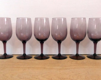 Vintage Purple Wine Glasses - Retro Set of 6 Stemmed Purple Wine Glasses or Goblets - Libbey Lavender Wine Glasses