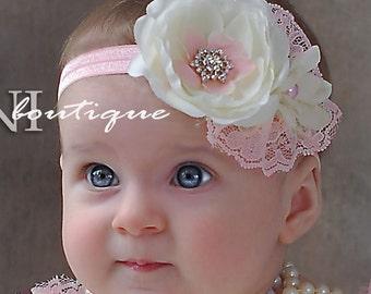 Pink and ivory baby headband, shabby chic roses headband, newborn head band, headbands