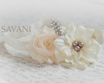 ivory baby headband, shabby chic roses headband, newborn head band, headbands