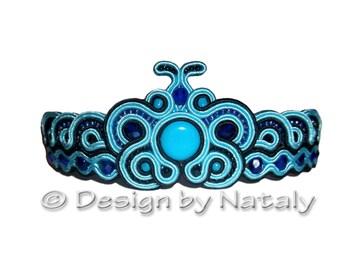 OOAK Soutache Jewelry Bracelet Morpho Blue Butterfly Handmade