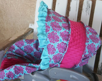 pink and teal/turquoise damask with hot pink minky infant car seat cover and hood cover with teal/turquoise satin ruffle