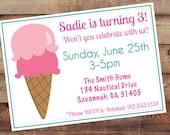 Ice Cream Cone Invitation-Digital 5X7 JPG File