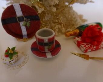 Christmas Santa's Jacket Dollhouse Miniature Coffee Mug & Plate