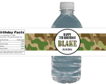 Army Camo Party (15ct) Waterproof Bottle Labels Birthday Party Baby Shower Bridal