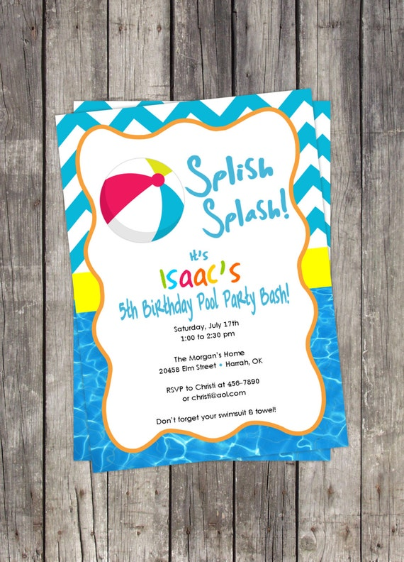 birthday party invitation beach ball pool party kids birthday