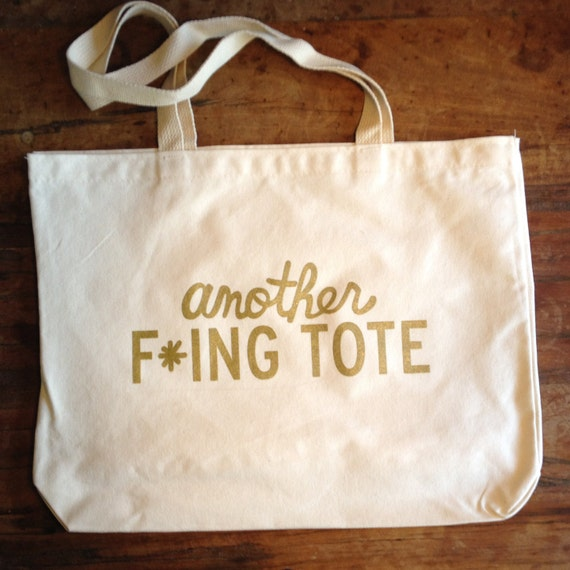 Another F*ing (natural & gold) Tote