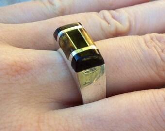 Mens ring, onyx ring, tiger eye ring, patterned ring, modern ring, mens gemstone ring, mens sterling silver ring, inlay ring, stone ring