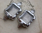 4Pcs French vintage silver stainless steel twist watch frame pendant bracelet design charms bombe glass
