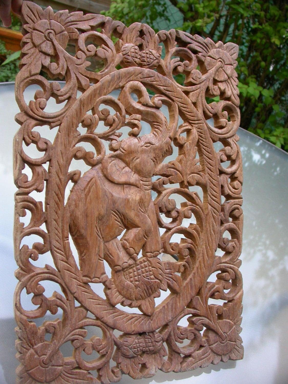 Antique wood sculpture filigree ornate elephant flower