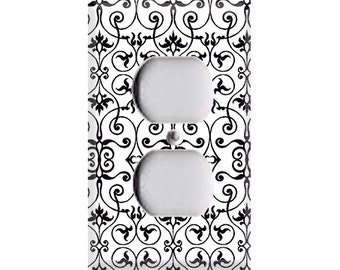 Black and White Intricate Outlet Cover