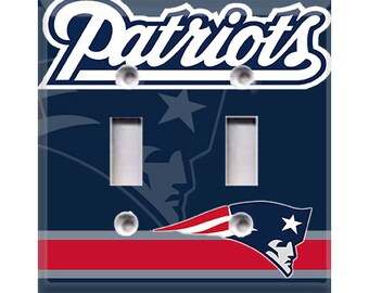New England Patriots Double Light Switch Cover