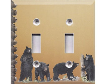 Black Bears Double Light Switch Cover