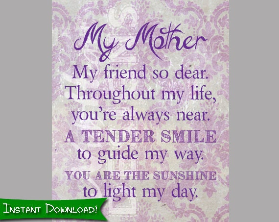 Items similar to My Mother my friend so dear - Mother's Day Poem ...