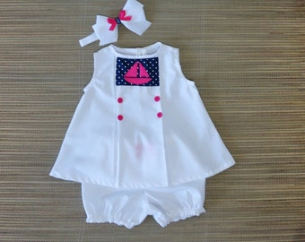 Nautical Collection - Pink Sailboat Baby Girl Dress - Toddler Dress - Baby Dress 3M - 18M