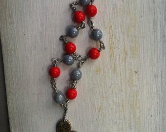 Red & Light Blue Glass Bracelet Self-Control Charm