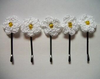 Crochet Flower Hair Pins Set of 5