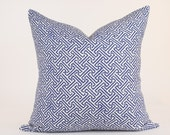 "Quadrille China Seas JAVA JAVA Pillow Cover in Navy on Tint  18"", 20"" , 22"", 24"" sq."