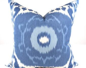 """Schumacher SAMARKAND IKAT Pillow Cover in Porcelain, Accent Pillow, Throw Pillow, Toss Pillow, Decorative Pillow  18"""", 20"""" sq."""