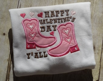 girl Valentines Day shirt Happy Valentines Day Y'all applique top girls Valentines Day shirt Pink cowgirl outfit