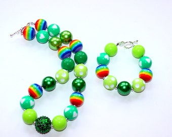Girls St Patricks Day chunky necklace and bracelet set bubblegum bead necklace matching bracelet set st patricks day rainbow chunky bead