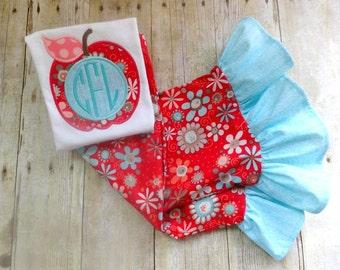 fall outfit apple ruffle pant set red aqua ruffle pants apple shirt apple outfit girls red apple toddler ruffle pants fall clothing