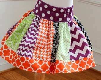 girls Halloween skirt chevron polka dot quatrefoil skirt chevron skirt orange lime green purple and black skirt  toddler girl Halloween