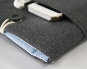 iPad Mini Sleeve, iPad Mini Case, iPad Mini Cover, Kindle, Nook, Nexus pouch With Pocket - - Dark grey