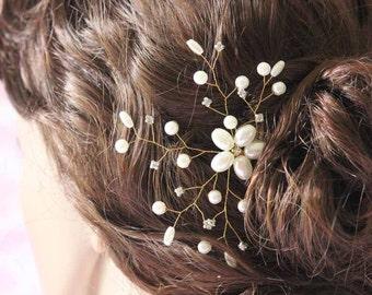 Wedding hair accessories - Pearls Floral Hair Vine spray  Bobbi Pin Bridal hair comb Bridal headpiece