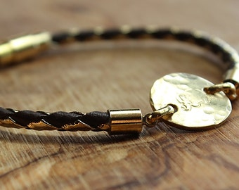 Gold Elephant Leather Bracelet