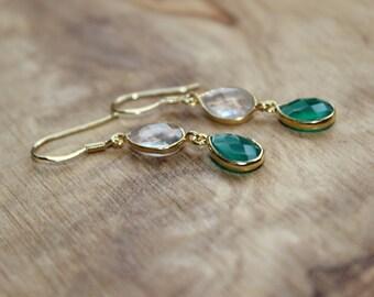 Goldfilled Dangle Green Agate Earrings