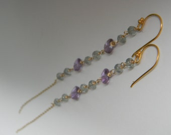 SALE. earrings. moss aquamarine. amethyst.