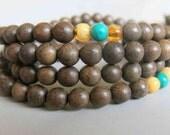 108pcs Natural Nanmu Wood Beads Prayer Beads Japa Mala 6mm - A354