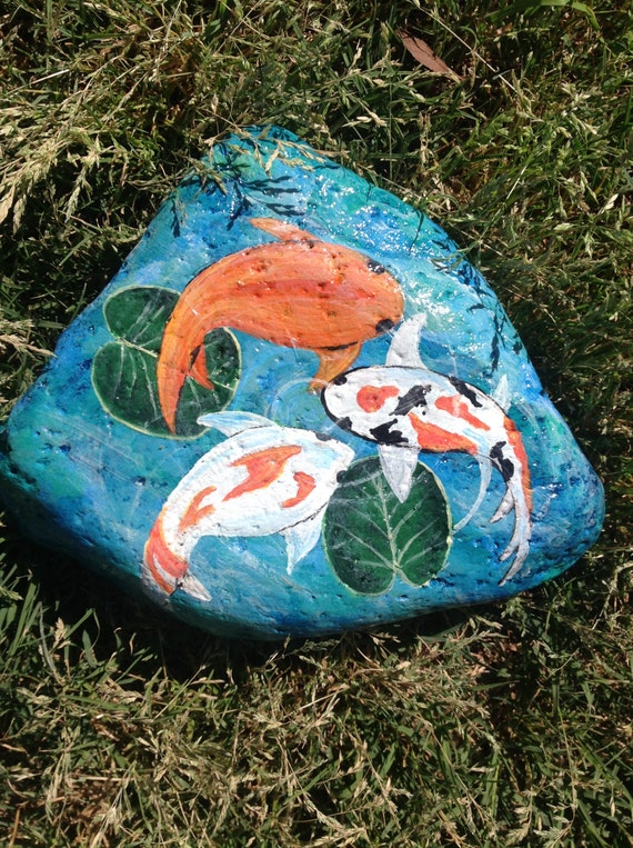 Koi in pond hand painted on river rock garden pond or for Fish pond rocks