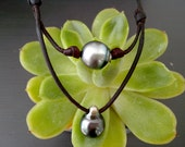 Black Round and drop tahitian pearls, leather necklace for woman, hand rolled  australian leather, tahitian pearl as clasp