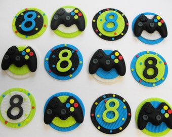Xbox Video Game Fondant Cupcake Toppers,video game cupcakes, gaming birthday, gamer, xbox birthday, edible toppers