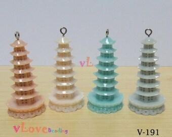 Resin BUDDHA TOWER pendant x 4 pcs (V-191)