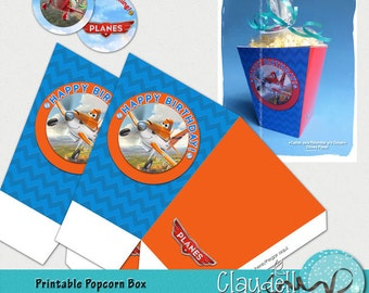 Planes on the Sky Inspired Printable Popcorn / Favor Box - 300 DPI