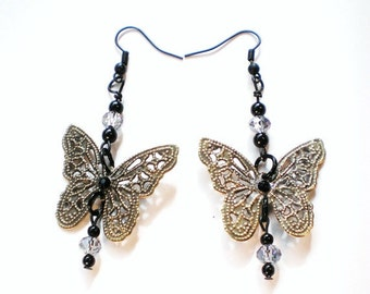 Butterfly Earrings with AB Swarovski Crystals and Black Rhinestones, Brass Pierced Dangle