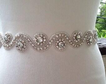 Bridal Sash,Silver Crystal Sash,Wedding Rhinestone Sash,Best Seller Wedding Sash Belt,Silver Sash Belt,Beaded Birdal sash