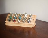 Small Wood Table Top Slanted 30 Capacity Bobbin Holder