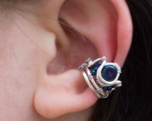 Beaded Silver Crown Ear Cuff