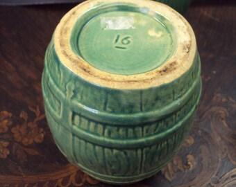 Rare Nelson McCoy Mug Blue-Green early makers mark Barrel