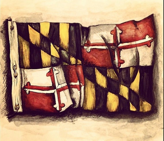 maryland state flag temporary tattoo rub on by ablinkink on etsy. Black Bedroom Furniture Sets. Home Design Ideas