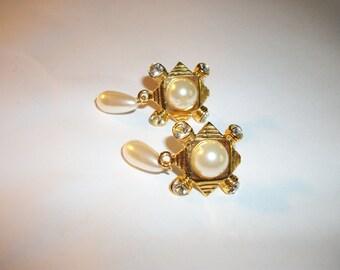 Vintage Gold-tone Rhinestone and Pearl Drop Post Earrings