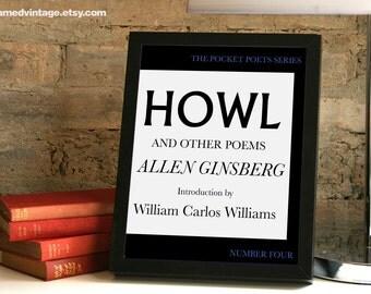 Howl, Allen Ginsberg, Framed Print, Framed Art, Framed Print, The Beats, Beat Poetry, Black White Typography,