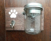 Doggie Decor~ leash & treat holder~ dark stain w/ brushed nickel hook and wide mouth ball jar~ 5 x 8